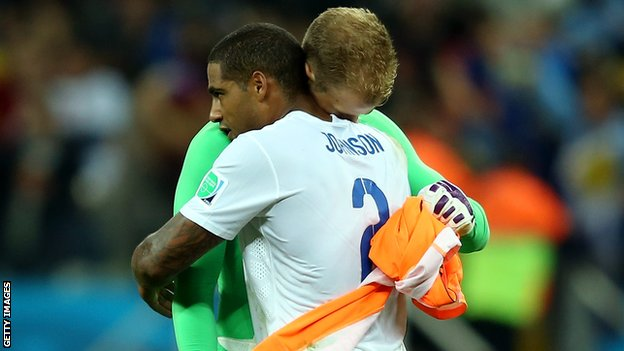England's Glen Johnson and Joe Hart