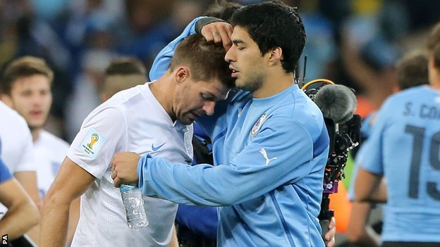 Uruguay striker Luis Suarez scored twice to put Steven Gerrard's England out of the World Cup