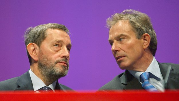 Tony Blair and David Blunkett at the Labour Party conference in Bournemouth 2003.
