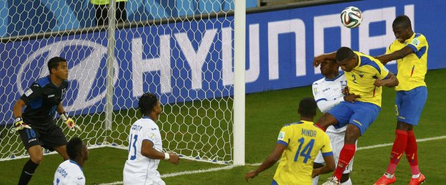 Enner Valencia heads in Ecuador's winner against Honduras