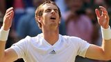 Andy Murray, with eyes closed, holds his arms aloft at the moment of his Wimbledon triumph