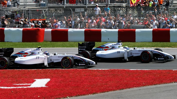 Valtteri Bottas and Felipe Massa in the Williams at the Canadian Grand Prix