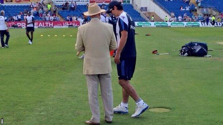 Geoffrey Boycott and England captain Alastair Cook