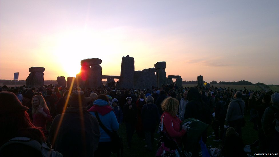 Gatherers at Stonehenge, Glastonbury for Summer Solstice 2014.