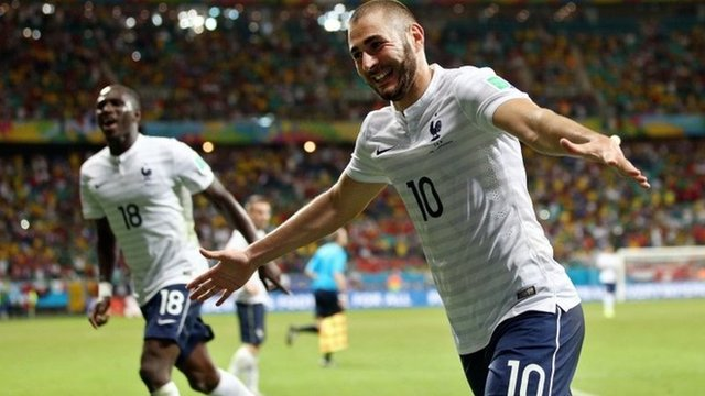 Karim Benzema wrongly thought he had scored a sixth for France in the final minute