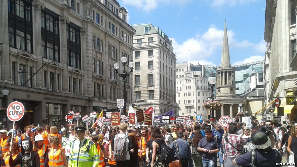 Crowds protest against austerity measures in Central London