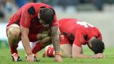 Wales players dejected at the end of the game