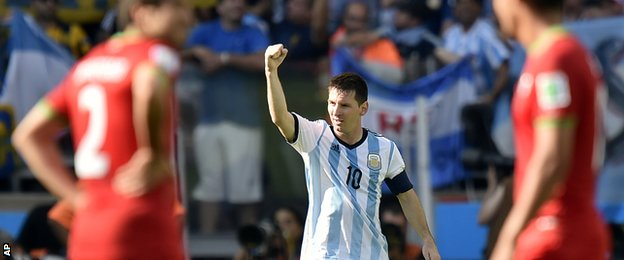 Argentina forward Lionel Messi celebrates scoring against Iran