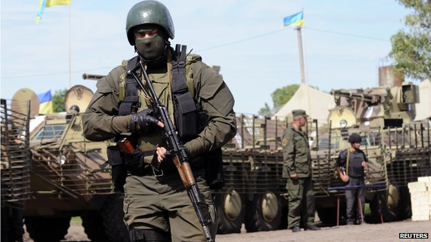 Ukrainian troops near Svyatogorsk