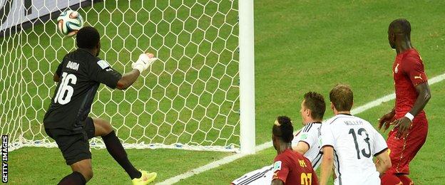 Germany's Miroslav Klose scores for Germany