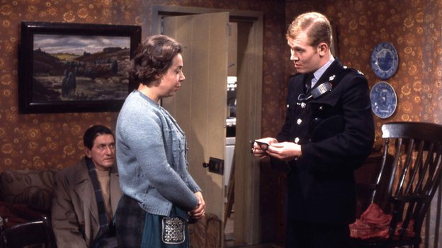 Richard Butler as James Cregan, Patsy Byrne as Bessie Laidlaw and Douglas Fielding as PC Quilley in Z Cars in 1970