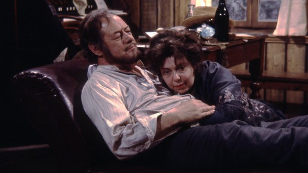 Rex Harrison as Mikhail Platonov, with Patsy Byrne as Sasha, Platonov's wife, in Chekov play Platonov (1971 BBC adaptation)