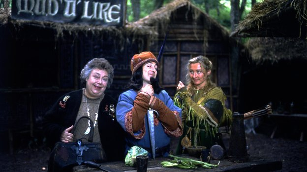 Patsy Byrne as Marian's Mum, Tony Robinson as the Sheriff of Nottingham and Kate Lonergan as Marian in the third series of Maid Marian and Her Merry Men