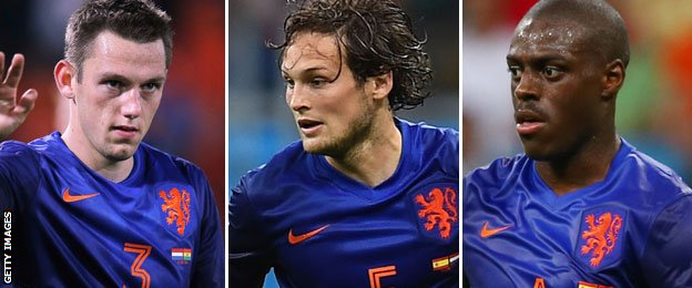 (left to right) Netherlands defenders Stefan de Vrij, Daley Blind and Bruno Martins Indi