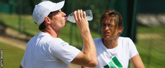 Andy Murray with coach Amelie Mauresmo