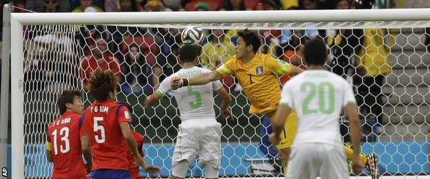 Algeria defender Rafik Halliche put his side 2-0 up with a header against South Korea