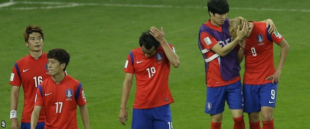 A dejected South Korea after being beaten by Algeria