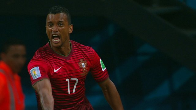 Nani opens the scoring early for Portugal