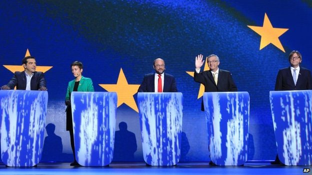 File photo: From left, Alexis Tsipras from Greece, Denmark's Ska Keller, Germany's Martin Schulz, Luxembourg's Jean-Claude Juncker, and Belgium's Guy Verhofstadt hold a televised debate as the 5 candidates campaigning to be next President of the European Commission at the European Parliament in Brussels, 15 May 2014