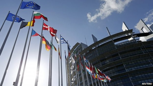 Flags of European Union member states fly in front of the European Parliament building in Strasbourg, 15 April  2014