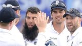 England celebrate Moeen Ali's first wicket at Headingley