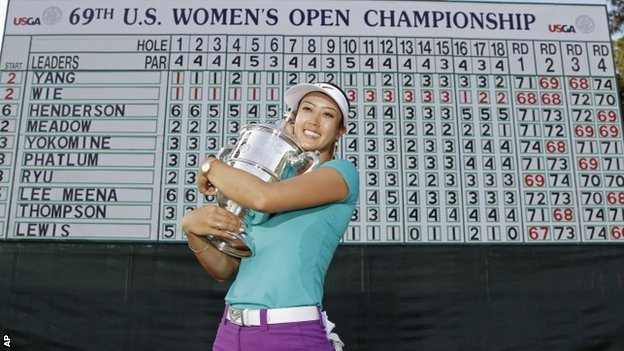Michelle Wie with US Open trophy