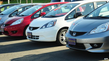 Honda fit cars on display