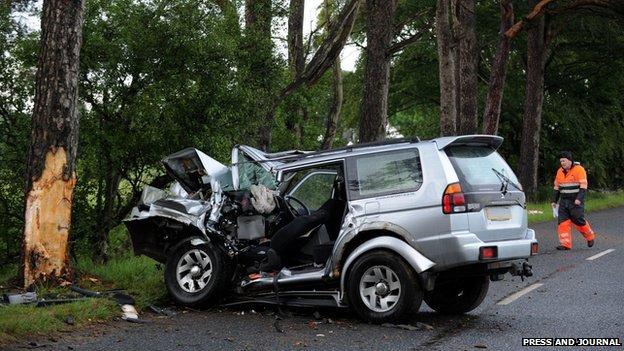 crash scene in tocher