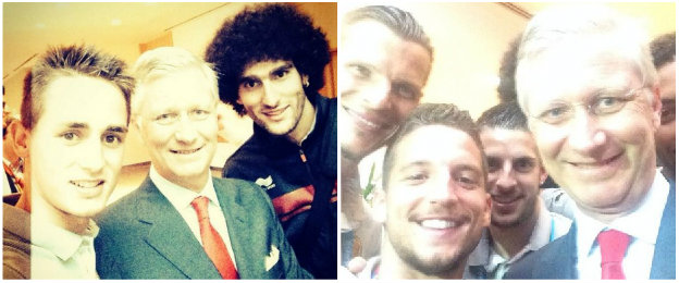 Adnan Januzaj and Dries Mertens with King Philippe of Belgium