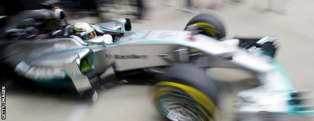 Lewis Hamilton in Mercedes F1 car
