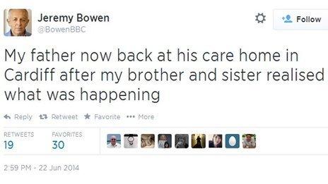 Jeremy Bowen's tweet