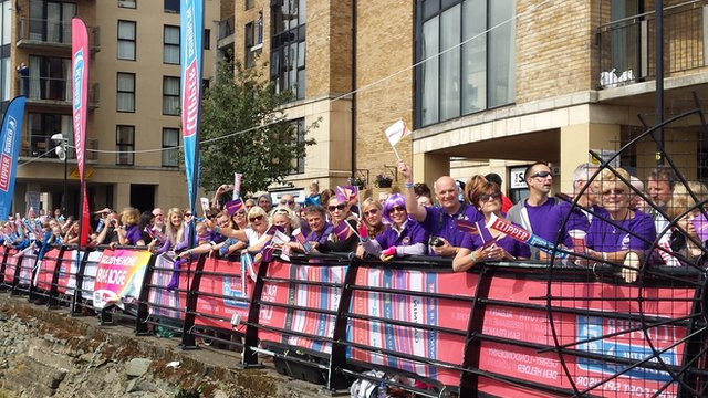 Thousands of people lined the quay to welcome the clipper crew