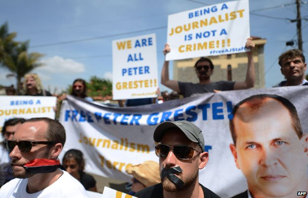 Journalists protesting in Nairobi, Kenya, in February about the case of the al-Jazeera journalists detained in Egypt