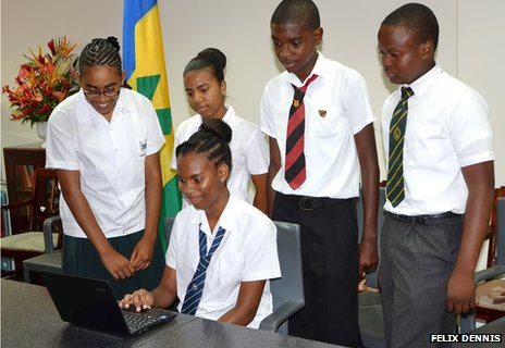 The publisher helped schoolchildren in the West Indies secure access to laptops