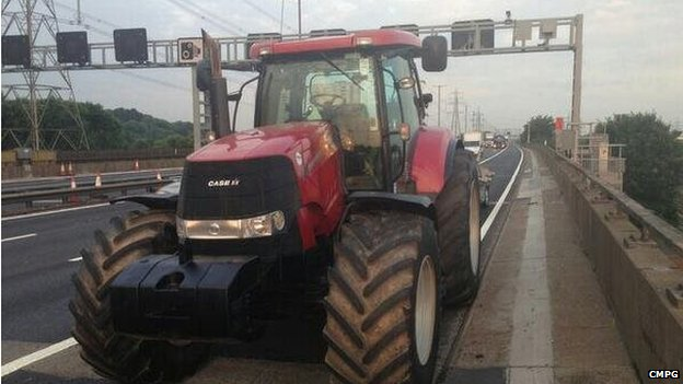 Tractor on hard shoulder
