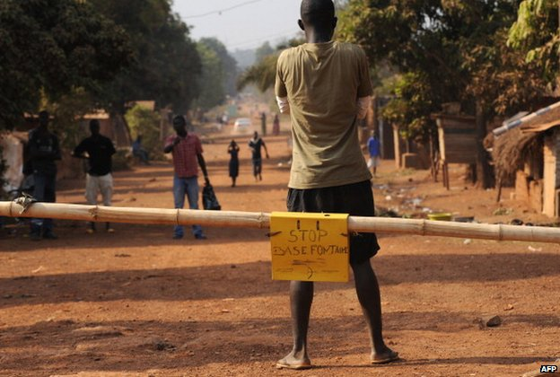 A roadblock set up by residents to prevent rebels from entering Bangui in the Central African Republic in January  2013