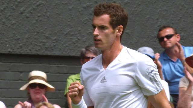 Andy Murray land a great backhand winner in his first round match against Belgian David Goffin at Wimbledon 2014