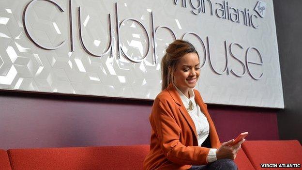 Woman in Virgin Atlantic Clubhouse