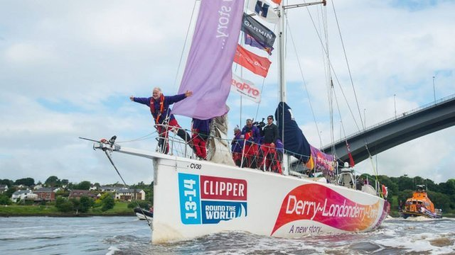 The Derry-Londonderry-Doire yacht  sailed up the River Foyle on Monday morning