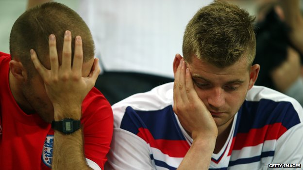 Dejected England fans