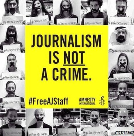 Pictures of people with taped mouths, Amnesty logo and banner reading Journalism Is Not A Crime