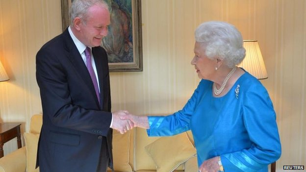 Martin McGuinness shaking hands with the Queen
