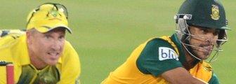 Australia's Brad Haddin and South Africa's JP Duminy