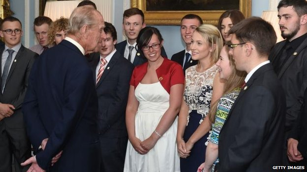Prince Philip met Duke of Edinburgh gold award winners