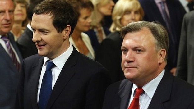 Ed Balls (right) and George Osborne at the State Opening of Parliament