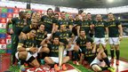 South Africa players celebrate the series win with Wales having retained the Prince William Cup.