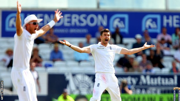 Stuart Broad (left) and James Anderson appeal in vain for a wicket on the fourth day against Sri Lanka
