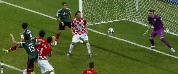Mexico captain Rafael Marquez gives his side the lead against Croatia