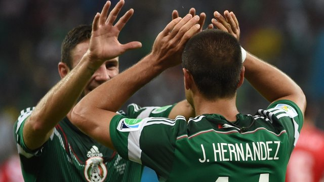 Mexico's Javier Hernandez scores their third goal against Croatia