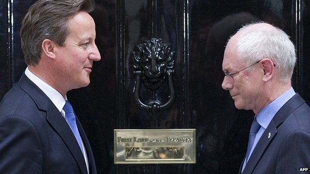 David Cameron greets President of the European Council, Herman Van Rompuy, outside 10 Downing Street
